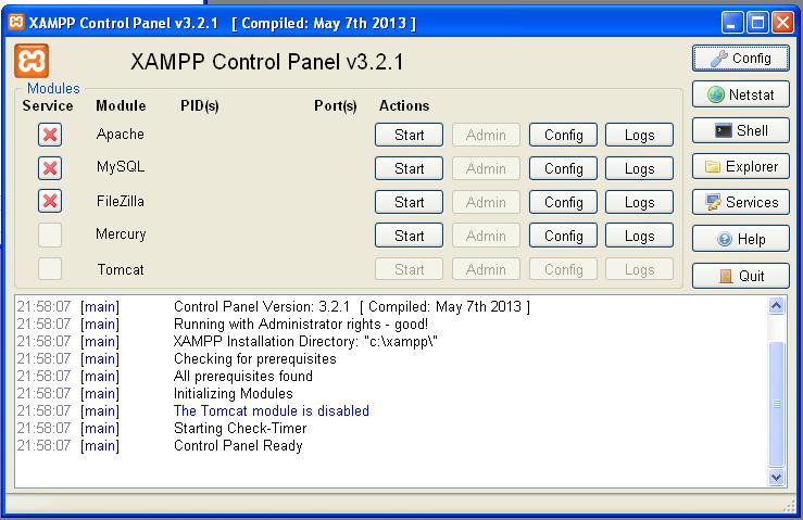 El panel de control de XAMPP