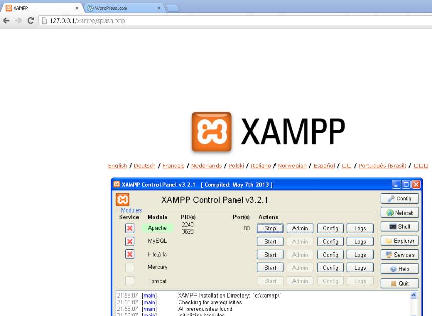La página de inicio de XAMPP y el panel de control con los servicios encendidos