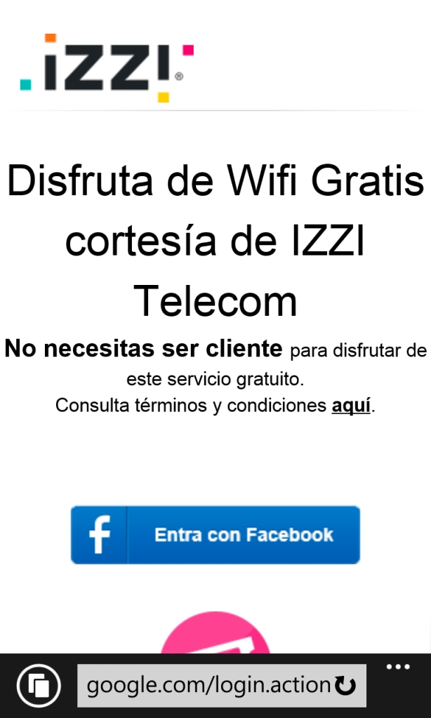 """La página falsa de bienvenida y el botón """"Conectar con Facebook"""""""