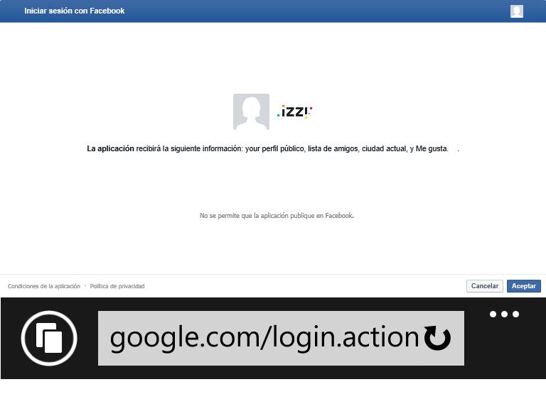 Página falsa de asignación de permisos a una aplicación de Facebook. Notar que en la URL dice google.com y donde deben ir las fotos de perfil del usuario aparecen cuadros sin foto