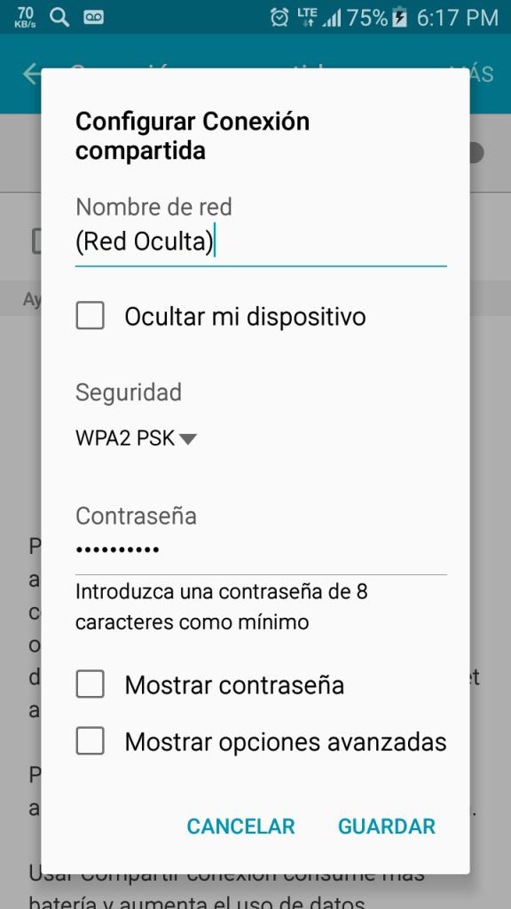 Configurando el Hotspot del celular