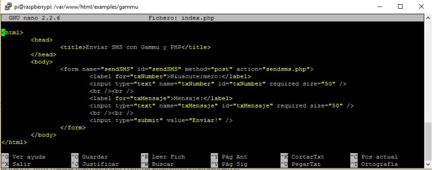 Código de index.php