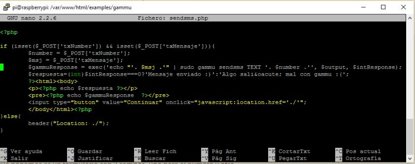 Código de sendsms.php
